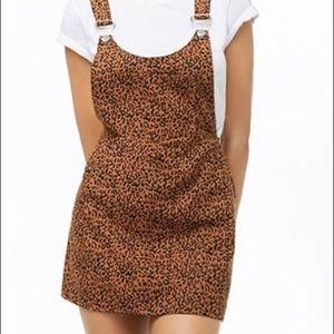 Forever 21 denim cheetah print overall skirt small